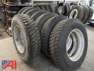(8) 11R24.5 Drive Tires