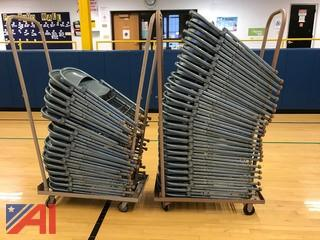 (43) Folding Metal Chairs and Rolling Racks