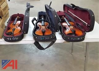 (3) Assorted Violins