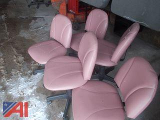 (5) Pink Rolling Chairs