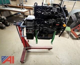 John Deere 4 Cylinder Diesel Engine & Stand