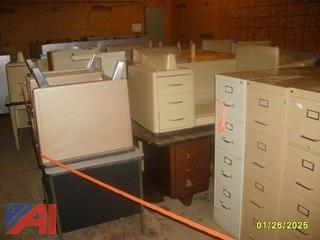 (15) Teachers Desks and (15) File Cabinets