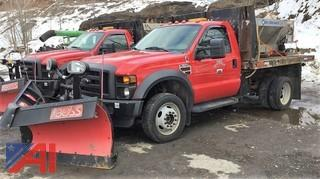 2010 Ford F450 Super Duty Stake Rack Dumping Pickup Truck with Plow and Sander
