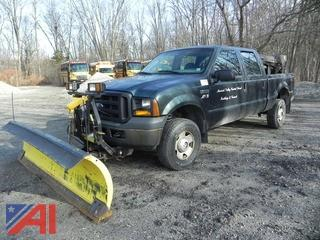 2006 Ford F350 SD 4 Door Pickup with Plow and Salt Spreader