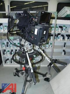 (#2) JVC ProHD Video Camera Mounted on a Vinten Pro-Ped Tripod w/ Various Accessories