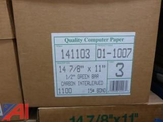 (12) Boxes of Greenbar 3-Page Printer Paper