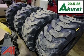 (4) Akuret 20.5-25 E-2/L-2 Loader Tires