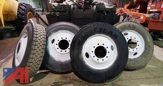 (4) Goodyear 11R24.5 Truck Tires With Rims
