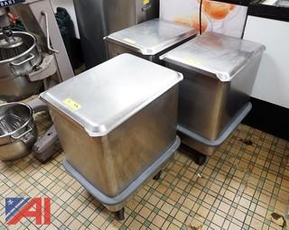 (3) Matching Stainless Steel Dough/Flour Bins