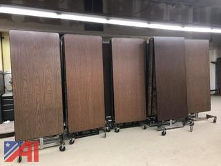 (24) Folding Cafeteria Tables on Castors