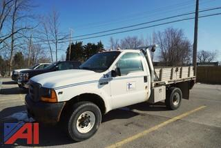 2001 Ford F250 XL SD 4WD Aluminum Flatbed Stake Body Truck