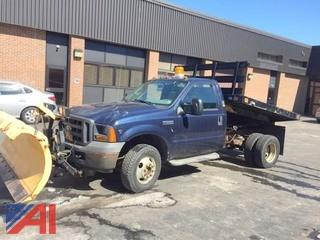 2005 Ford F350 SD Pickup w/ Flatbed Dump & Plow