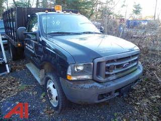 2002 Ford F450 SD Pickup w/ Stake Rack and Plow