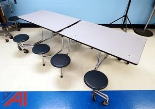 (4) Fold-N-Roll 8 Person Cafeteria Tables