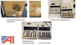 Adding Machines, Laminator, Electric Punch & Stapler, and other Electronics