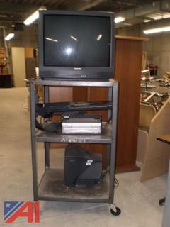 Rolling Media Cart with TV & VCR