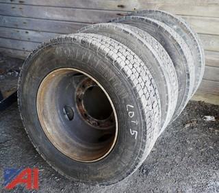 (4) HD245/70R19.5 Truck Tires