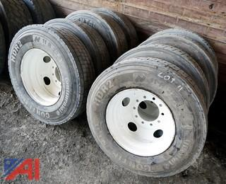 (8) HDR2 11R22.5 Truck Tires & Rims