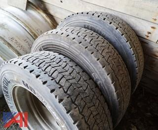 (3) HDR 225/70R19.5 Tires and Rims