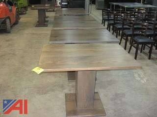 (6) Oak Pedestal Tables