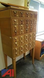 Library Card Catalog and a Storage Cabinet w/ Drawers
