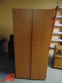 2 Door Wooden Cabinet on Wheels