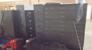 Assorted Map Files & Filing Cabinets