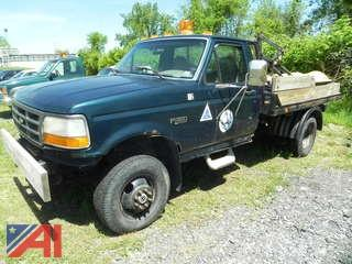 1997 Ford F350 XL Flatbed with Plow