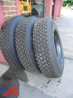 (5) Bridgestone 10R22.5 Tires on Rims