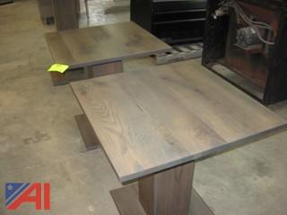 (2) Oak Pedestal Tables
