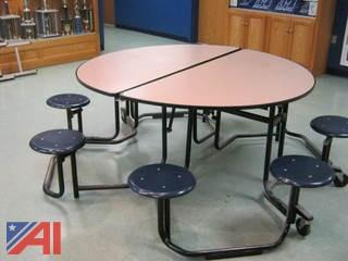 (22) Round Fold-Up Cafeteria Tables