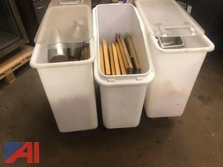 (3) Large Commercial Ingredient Bins