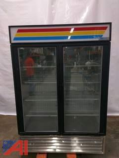 True Two Door Glass Freezer