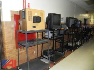Large Lot of TV's, VCR's and (3) Stands