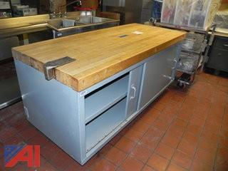 Butcher Block Counter with Shelving