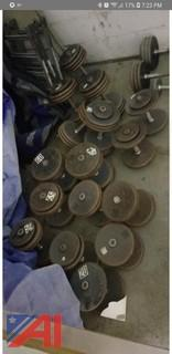 Assorted Steel Dumbbells and Rack