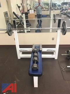 Olympic Flat Bench with Three-Tier Hex Head Rack with Dumbells