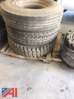 (3) Dana Rims with Tires Mounted, 11R22.5