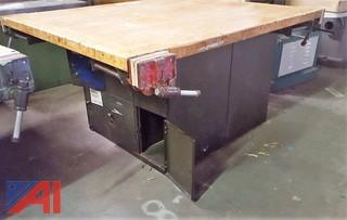 Metal Work Bench with Wooden Top