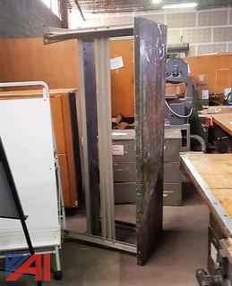 Steel Work Table & (2) Metal Storage Cabinets