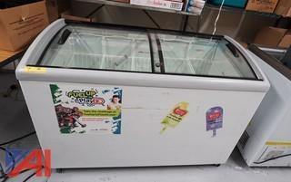 Ojeda Sliding Glass Top Ice Cream Freezer