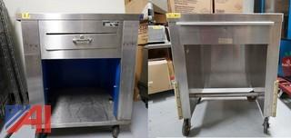 (2) Stainless Steel Single Drawer Cash Register Stands