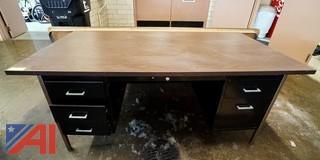 Walnut Grain Laminated Overhang Double Pedestal Desk and 8' Folding Table