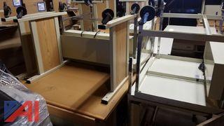 (12) Wooden Desks and (8) Metal Desks