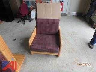 (18) Upholstered Oak Lounge Chairs