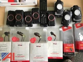(6) GZ One Cell Phones, Assorted Cases and Plantronics Flex Grip Headsets