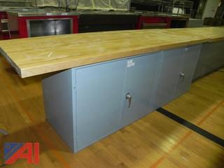 10' Maple Shop Table Top w/ Attached Cabinet