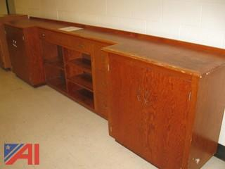 Wooden Wall Unit with Drawers
