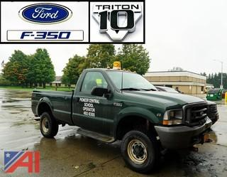 2003 Ford F350 XL SD Pickup Truck with V-Plow and Liftgate