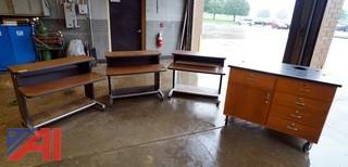 (6) Pc Assorted Desks & Lab Cabinet